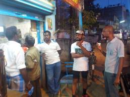Bharathi and Rakesh at a tea shop in Tambaram
