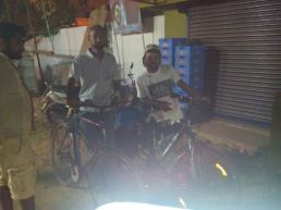 Bharathi and Rakesh with their cycles