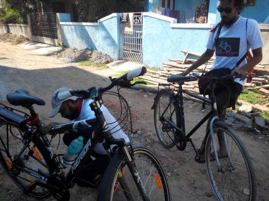 Rakesh and Sudharshan began the Ride for Gender Freedom on ECR at 3:30 p.m.